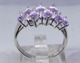 Ring Silver 925/1000 decorated with 8 Amethyst size 50 52 54 56 60. 25% with code: SOLD17