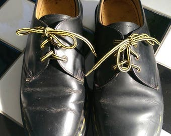 Black lace up ankle school shoes dress loafers Dr doc martens docs grunge goth 90s made in england narrow