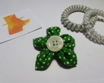 Green spotty hair clip, green flower hair clip, spotty accessories, mothers day gift, birthday gift, green accessories, flower accessories