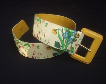 GUCCI Italy Rare Wide Cloth Flora Belt c 1980