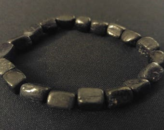 BLACK TOURMALINE Genuine Natural Tumbled Gemstone Stone Stretch Bracelet Absorb NEGATIVE Energy