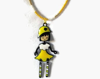 Doll Necklace/Yellow or Blue/Hand Strung Glass Seed Bead Necklaces in Matching or Coordinating Colors/Jointed Doll Charms/Each One of A Kind