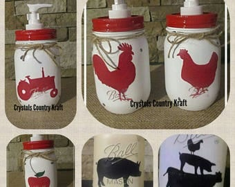 Kitchen soap dispensers, farm house decor,cow,pig, rooster, apple soap jar,tractor ,windmill,hen, kitchen decor, farm animal kitchen decor,