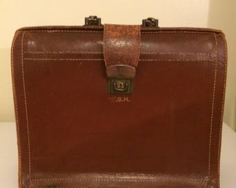 Vintage leather attaché case, brown leather briefcase, cowhide leather, made in New York, accordion briefcase