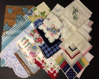 Vintage Handkerchiefs Floral and Crochet Edge Hankies Lot of 18