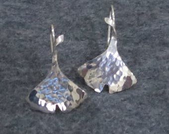 Sterling Silver Hammered Ginkgo Leaf Earrings