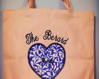 Personalized Canvas Tote Bag with Heart Applique
