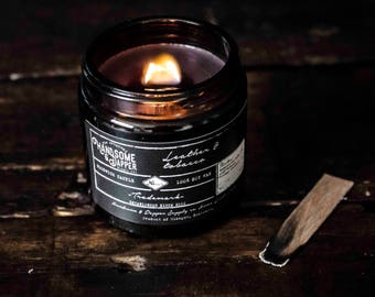 Leather & tobacco candle // Woodwick candle // Soy candle // Scented candle // Candle // Scented // Candle jar // Tobacco candle scent