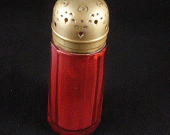 Cranberry Sugar Shaker Sprinkler Muffineer Glass Victorian Silver EPNS