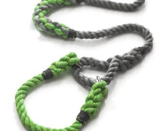 Grey and Lime Green Martingale Rope Leash   Grey and Lime Dog Lead   Nautical Rope Dog Leash   Custom Rope Dog Lead