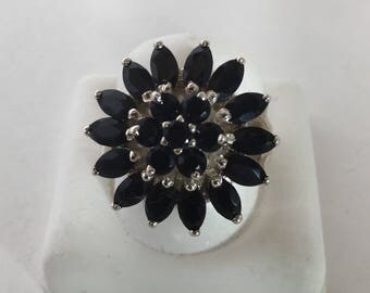 925 Sterling Silver Black Onyx Flower Ring
