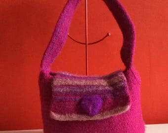 Hot Pink Felted Handbag