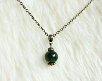 Emerald Green Lampwork Glass Bead Necklace