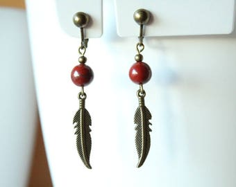 Bronze clips red Jasper bead and feather earrings
