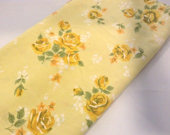 Full Flat Sheet Vintage Yellow Roses