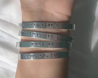 Psych Stamped Bracelet • Psych Inspired Bracelet • Psych the Movie Bracelet • Psych Jewelry • Psych the Movie Jewelry