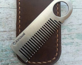 Leather Sleeve for Mustache or Beard comb, Leather comb sleeve, Leather comb case, Mustache comb case, Beard comb case, Dark Brown Leather