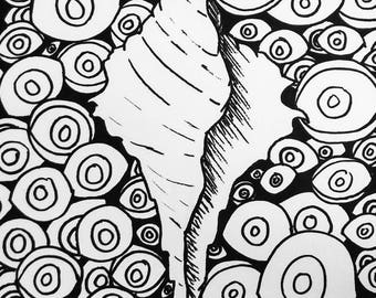 Black and White Seashell with Eyes Marker Drawing