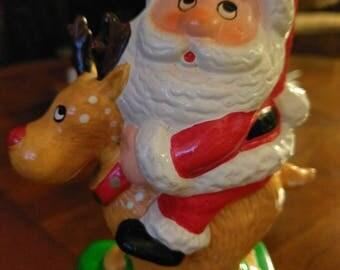 Santa Claus and Reindeer Coin Bank