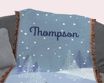 Personalized Winter Forest Christmas Throw Blanket Snowfall Trees Winter Scene Family Name Tapestry Throw
