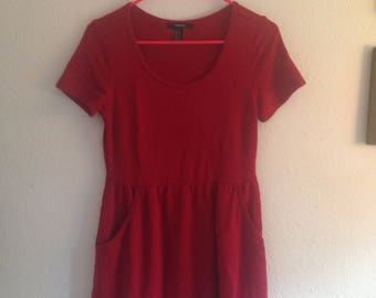 Red babydoll mini dress