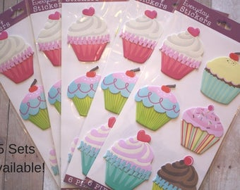 Cupcake stickers/ cupcake sticker set/ jumbo cupcake sticker set/ big stickers/ cupcake/ stickers/ cupcake decorations/ birthday stickers