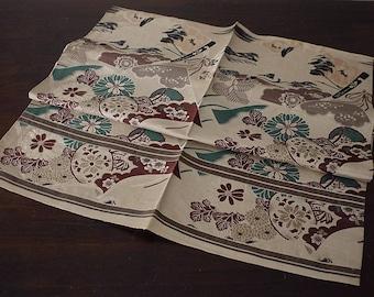 Japanese vintage obi fabric, Japanese folk textile for obi, silk, crane and hand drum