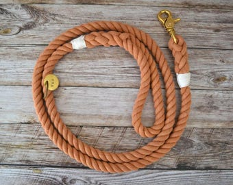 Cotton Rope Leash - Orange // Dog Leash // Dog Lead // Rope Dog Leash // Whipped & Spliced // Brass // Stainless // Hand Dyed //