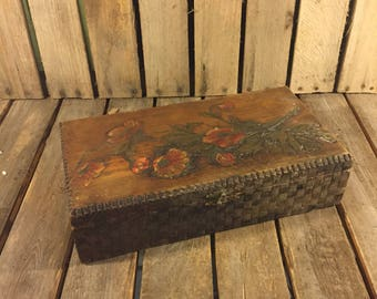 Beautiful Hand Carved Floral Wood Box