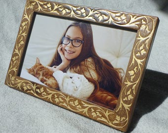Wooden Photo Frame Walnut Wood Engraving Vintage Style Free Worldwide Shipping Wedding Gift Birthday Handmade EtsyVintageLover