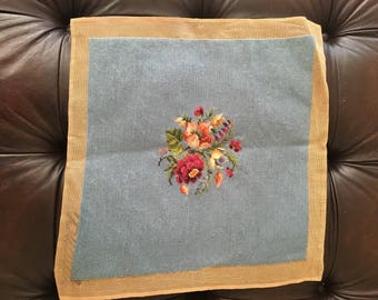 Needlepoint chair cover, pre-worked, vintage