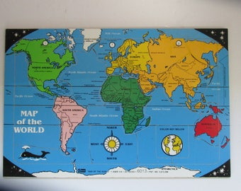 World map puzzle etsy vintage wooden world map puzzle by conner two maps in one 11 5 sciox Images