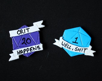 Dungeons and Dragons D20 Pins