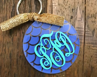 Acrylic Circle Monogrammed Keychains, Monogram Keychain, Personalized Keychain, Key Fob