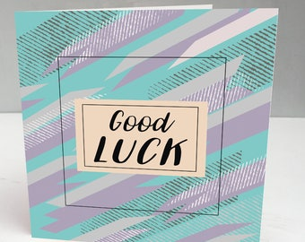 Good Luck Card, Modern Good Luck Card, Contemporary Good Luck Card, Good Luck, Exams, Driving Test, Good Luck Bride,