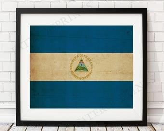 Nicaragua Flag Print, Nicaragua Flag Art, Nicaragua Gifts, Flag Poster, Housewarming Gift, Nicaraguan Flag, Nicaragua Art, Home Office Art