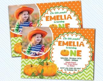Digital Printable Pumpkin Birthday Invitation. Boy Birthday