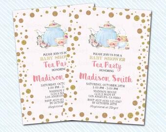 Digital Printable Tea Party baby Shower Invitation. Tea Shower baby invitation
