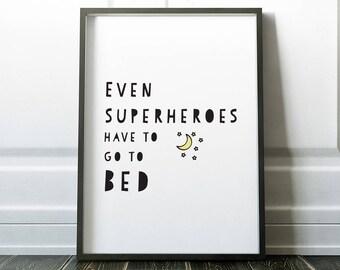 Nursery Wall Art, Nursery Print, Superhero Nursery, Kids Print, Kids Room, Scandinavian Nursery, Wall Art Print, Superhero, Nursery Decor