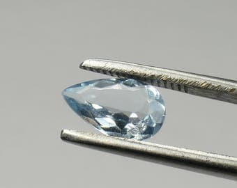 CLEARANCE ! Video! 9.5x6mm Natural aquamarine from Brazil pear 0.96ct blue beryl loose gemstone for jewelry pendant ring (#PB620)