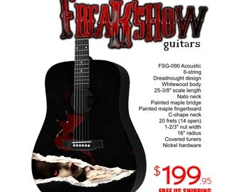 Graphic Acoustic Guitar TORN Design by FreakshowGuitars - FREE SHIPPING