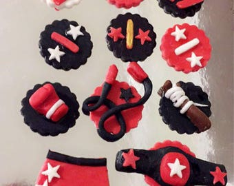 Boxing fondant toppers
