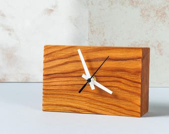 Natural Wooden Clock - Desk Clock made from Reclaimed Wood - Handmade Wood Clock, Modern Clock for Her, Home Decor, Small Table Clock, Clock