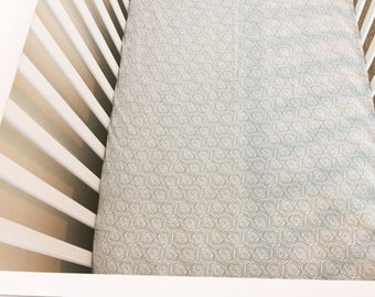 Gray Rosebud Fitted Crib Sheet | Standard  Fitted Crib Sheet | Baby Bedding