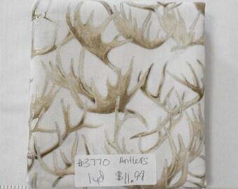 Fabric- 1 yard piece - reindeer/moose/elk/deer Antlers with metallic (see store for other coordinating fabrics and Noel Panel) (#3770)