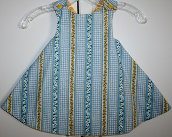 18 months,  Blue and Yellow Daisy Reversible Sundress with Yellow.