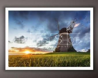 Landscape Print, Windmill photography print, North East Landscape, Fine art photography, Golden sunrise, sunrise and sunset