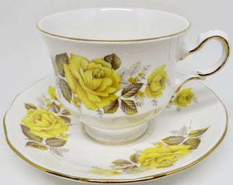 Queen Anne Yellow Roses Bone China Footed Teacup and Saucer Pattern 8616