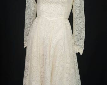 Vintage 70s Off White GUNNE SAX Boho Wedding Peasant Long Dress Floral Lace Nylon Rayon USA Sz. 5