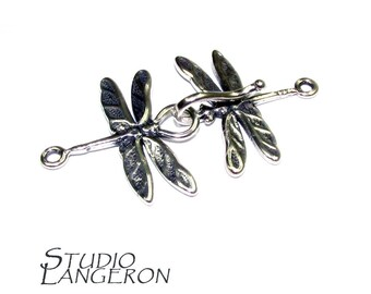925 Sterling Silver Hook Eye Dragonfly Clasps, Silver clasp, Clasp, Clasps, Hook eye clasp, Clasps, Sterling silver, Silver clasp - 1 piece